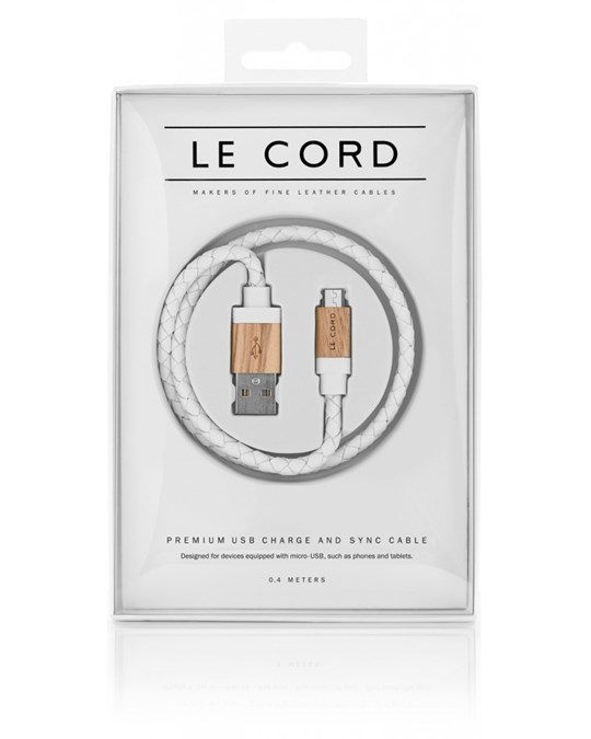 Le cord Micro-usb Charging Cable White Leather