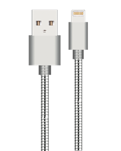 Silver Metal Charging Cable For Iphone