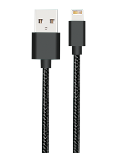 Black Nylon Charging Cable For Iphone