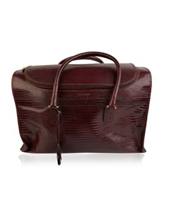 Giorgio Armani Vintage Burgundy Leather Travel Carry On Beauty Bag