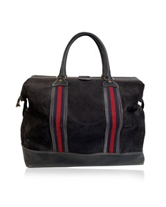 Gucci Vintage Blue Suede Web Travel Weekender Travel Boston Bag