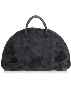 Premiere Ligne Black Faux Fur Half Moon Travel Bag Carry On