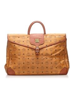 Mcm Visetos Leather Briefcase Brown
