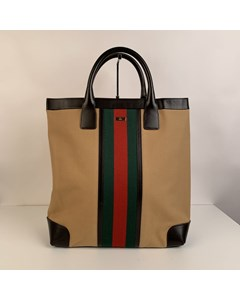 Gucci Beige Canvas Shopping Bag Shopper Tote With Stripes
