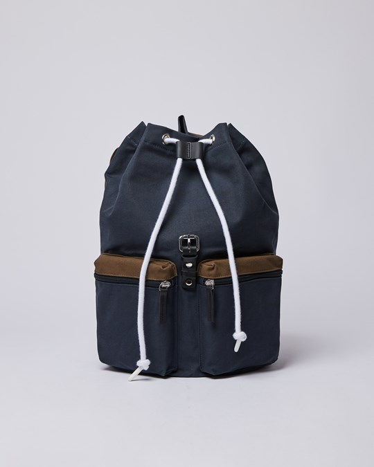 Sandqvist Roald Multi Navy / Olive With Black Leather