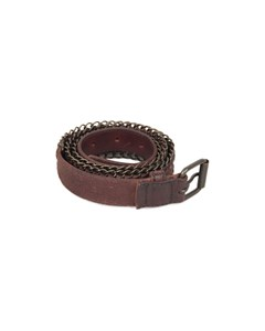 Liebeskind Brown Leather Women Belt With Chain Detailing 95 Cm