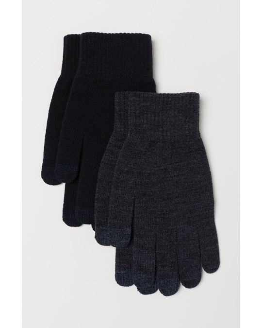 H&M Magic Touch Gloves Grey/Black 2 pack