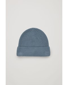 Knitted Cashmere Hat Steel Blue