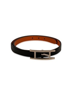 Hermes Vintage Black Leather Bracelet Single Tour Palladium Buckle