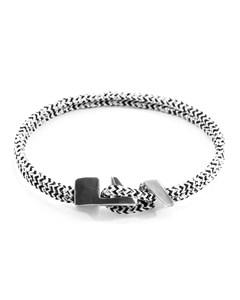 Anchor & Crew White Noir Brixham Silver And Rope Bracelet