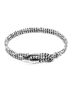 Anchor & Crew White Noir Padstow Silver And Rope Bracelet