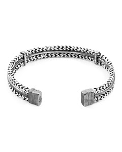 Anchor & Crew White Noir Aire Silver And Rope Bangle