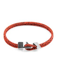 Anchor & Crew Red Noir Brixham Silver And Rope Bracelet