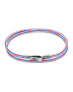 Anchor & Crew Project-rwb Red White And Blue Liverpool Silver And Rope Bracelet