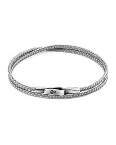 Anchor & Crew Classic Grey Liverpool Silver And Rope Bracelet