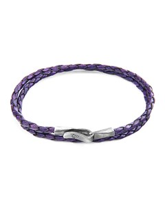 Anchor & Crew Grape Purple Liverpool Silver And Braided Leather Bracelet