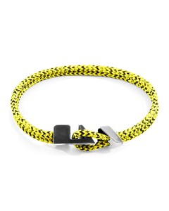 Anchor & Crew Yellow Noir Brixham Silver And Rope Bracelet