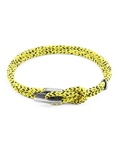 Anchor & Crew Yellow Noir Padstow Silver And Rope Bracelet