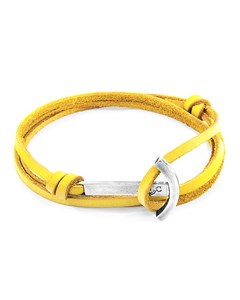 Anchor & Crew Mustard Yellow Clipper Anchor Silver And Flat Leather Bracelet
