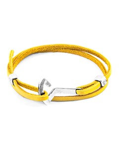 Anchor & Crew Mustard Yellow Flyak Anchor Silver And Flat Leather Bracelet