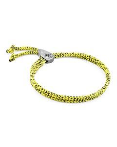 Anchor & Crew Yellow Noir Pembroke Silver And Rope Bracelet