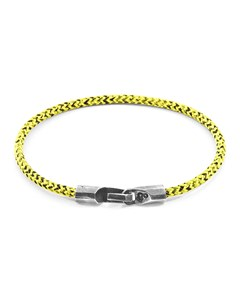 Anchor & Crew Yellow Noir Talbot Silver And Rope Bracelet