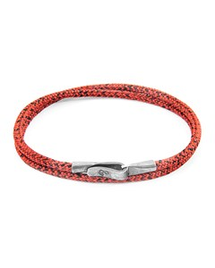 Anchor & Crew Red Noir Liverpool Silver And Rope Bracelet