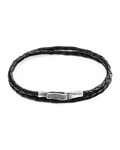 Anchor & Crew Coal Black Liverpool Silver And Braided Leather Bracelet