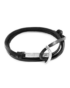 Anchor & Crew Coal Black Clipper Anchor Silver And Flat Leather Bracelet