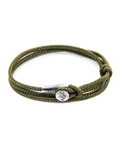 Anchor & Crew Khaki Green Dundee Silver And Rope Bracelet