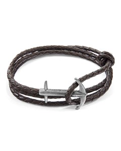 Anchor & Crew Admiral Anchor Silver And Braided Leather Bracelet