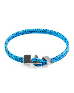 Anchor & Crew Blue Noir Brixham Silver And Rope Bracelet