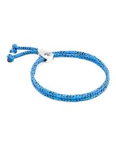 Anchor & Crew Blue Noir Pembroke Silver And Rope Bracelet