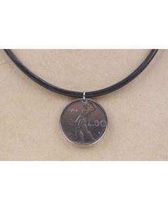 50 Lire Coin Pendant Black Rubber Necklace 1974