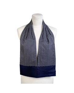 Hermes Paris Vintage Blue Silk Ascot Scarf H Print