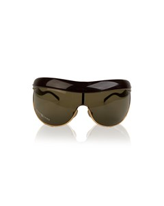 Marc Jacobs Gold Metal And Brown Acetate Shield Sunglasses