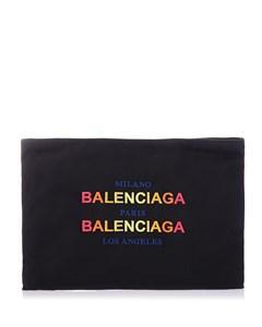 Black Nylon Pouch With Balenciaga Multicolor Logo Black