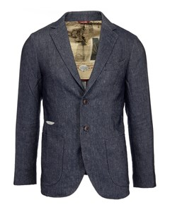Boston Double Button Suit Jacket Chambray Grey