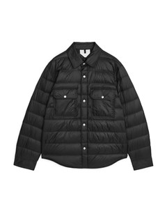 Quilted Down Shirt Jacket Black