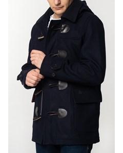 Bonner, Men's Short Duffle Coat With Detachable Hood In Dark Blue