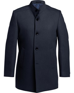 Wool Stand Up Collar Coat Navy
