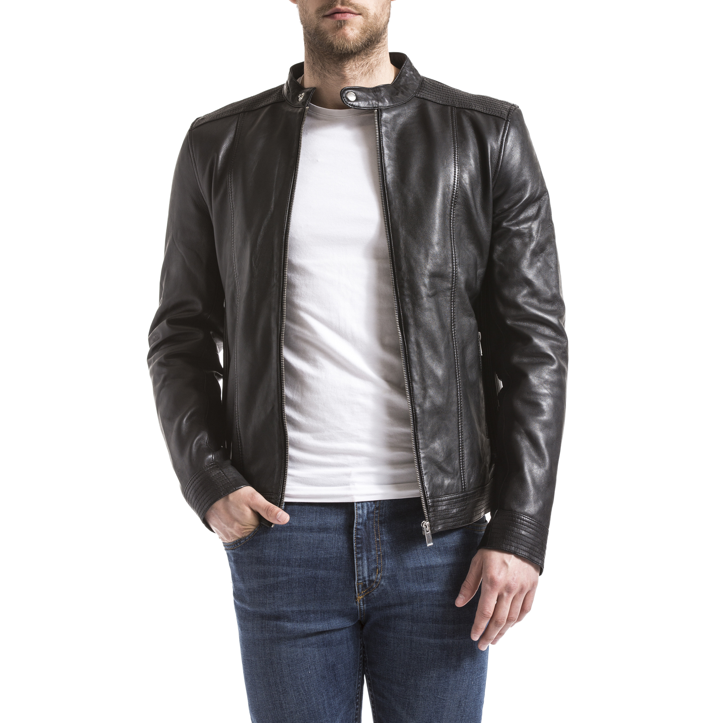 Blue Wellford Leather Jacket Man