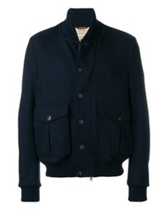 Buttoned Bomber Jacket  Blue