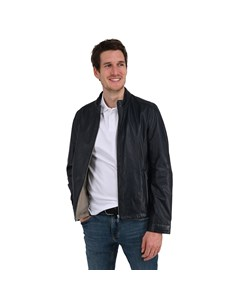Buttoned Collar Leather Jacket Ron Ron
