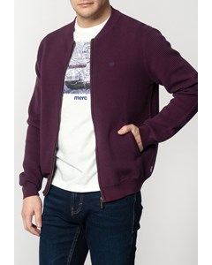 Booth, Men's Chunky Cotton Cardigan With Ripple Detailing In Mahogany