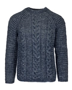 Wool Silk Cable Crew Sweater  Blue