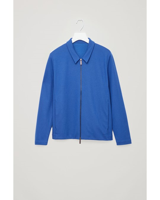 COS Zip-up Wool Jacket Blue