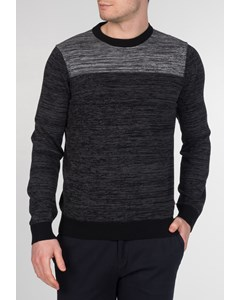 Savoy, Men's Cotton Space Dyed Crewneck Jumper With Long Sleeves In Marl Charcoal