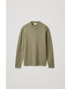 Side Button Cotton Jumper Khaki Green