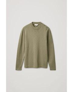 Side Button Cotton Jumper Khaki Green